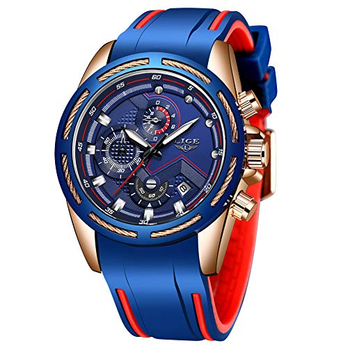 Lige Men's Watch Fashion Waterproof Silica Gel Chronograph Luxury Business Analog Quartz Watches Classic Blue Belt Date Calendar Watch