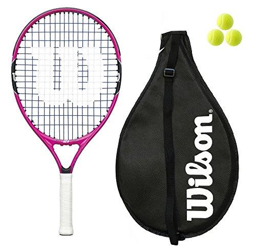 Wilson Brennen Junior Tennisschläger, 19, 21, 23, 25, inklusive 3Bälle, Mädchen/Jungen, Pink/Orange , rose, 23