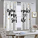 hengshu Quote Room Divider Curtains, Motivational You Make My Heart Smile Lettering with Heart Shapes Love Display, Bedroom Curtains Blackout Shades, Black and Blue, W72 x L84 Inch,