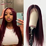 Straight Full lace Human Hair Wig for Black Women Brazilian Hair Pre Plucked with Baby Hair Burgundy 99J Color 180% Density 14 inch