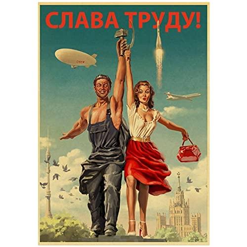 MZDesign Póster de película Stalin URSS Impreso Carteles Retro de Pared para Arte de Pared Cafe Room Pintura en Lienzo Decoraciones artísticas -50x70cmx1 Sin Marco