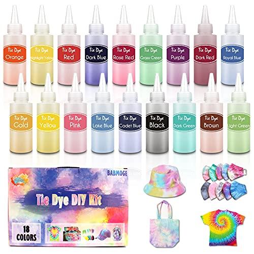Babmoge Tie Dye Kit 18 Colori per la Tintura di Tessuti, Vestiti con Tie Dye Polveri Spremere Bottiglie, Elastici e Guanti per Bambini e Adulti DIY