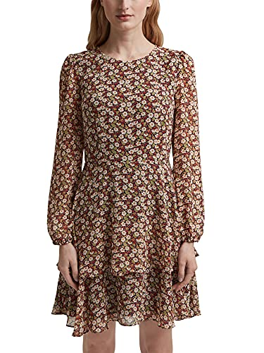 ESPRIT Recycelt: Chiffon-Kleid mit Blumen-Print