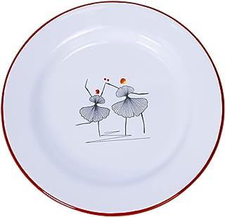 LXHDKDT des Assiettes en émail décorent Les Assiettes avec des Assiettes minimalistes Nordiques à l'ancienne Danseuses dan...