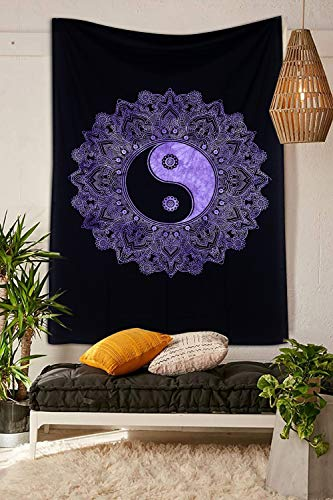 THE ART BOX Yin-Yang Tapestry Wall Hanging Hippie Mandala Tapestries for Bedroom Yinyang Good Luck Wall Decor Bohemian Poster, Cotton, 30x40 Inches, Purple