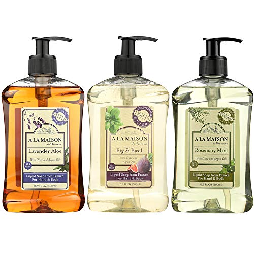A La Maison de Provence Liquid Soap Fig & Basil, Lavender Aloe & Rosemary Mint - 16.9 Fl Oz each