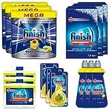 Finish Quantum MAX Lemon SET - Big Kit - Kit de limpieza de lavavajillas - Incluye: pastillas para lavavajillas, sal, abrillantador, limpiador de lavavajillas, desodorante para lavavajillas