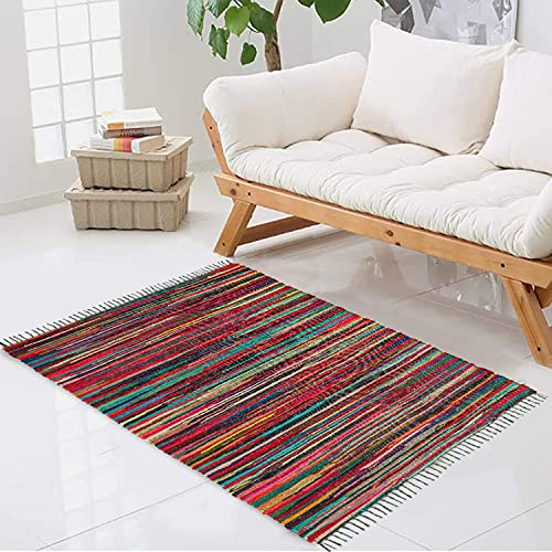 Trendsco - Rectangle Hand Made Chindi Rug with Complete Recycled 100% Pure Cotton - Multi Colorful Rug with Stripes - Decorative Pink Rugs for Living Room, Bedroom Decor and Garden (60 x 90 cm)