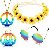 Geyoga 4 Pièces Ensemble de Costume Hippie Comprenant Collier de Signe de Paix Boucles d'oreilles Bandeau de Tournesol et Lunettes de Soleil Rondes Hippie Accessoires de Fête 60s 70s