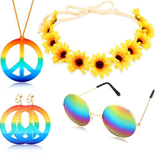 Geyoga 4 Stücke Hippie Kostüm Set Bestehend aus einem Regenbogen Friedenszeichen Halsketten Ohrring mit Sonnenblumen Stirnband und Runde Hippie Sonnenbrille aus den 60er und 70er Jahren