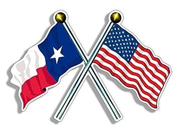 JR Studio 3x5 inch Crossed Poles USA & Texas Waving Flags Sticker - American Texan Proud Vinyl Decal Sticker Car Waterproof Car Decal Bumper Sticker