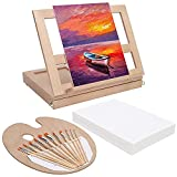 Casacrest Table Top Portable Beech Wood Easel & Painting Set with Storage Box Paint Palette, 12 Paint Brushes & 12 Canvas Panels- Professional Art, Sketching & Drawing Kit for Beginner Kids & Adult Artists