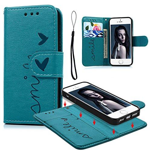 Geniric iPhone 5/iPhone SE Funda, iPhone 5S Carcasa Libro de Cuero Impresión de Amor PU Premium y TPU Funda Interna (2 en 1, Separable), Soporte Plegable - Azul