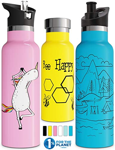 Double Walled Insulated Water Bottle with Drinking Straw Lid and Sports Closure | Children's Stainless Steel Metal Thermos | BPA Free, Environmentally Friendly, Leak Free (Yellow Bee Happy 750 ml)