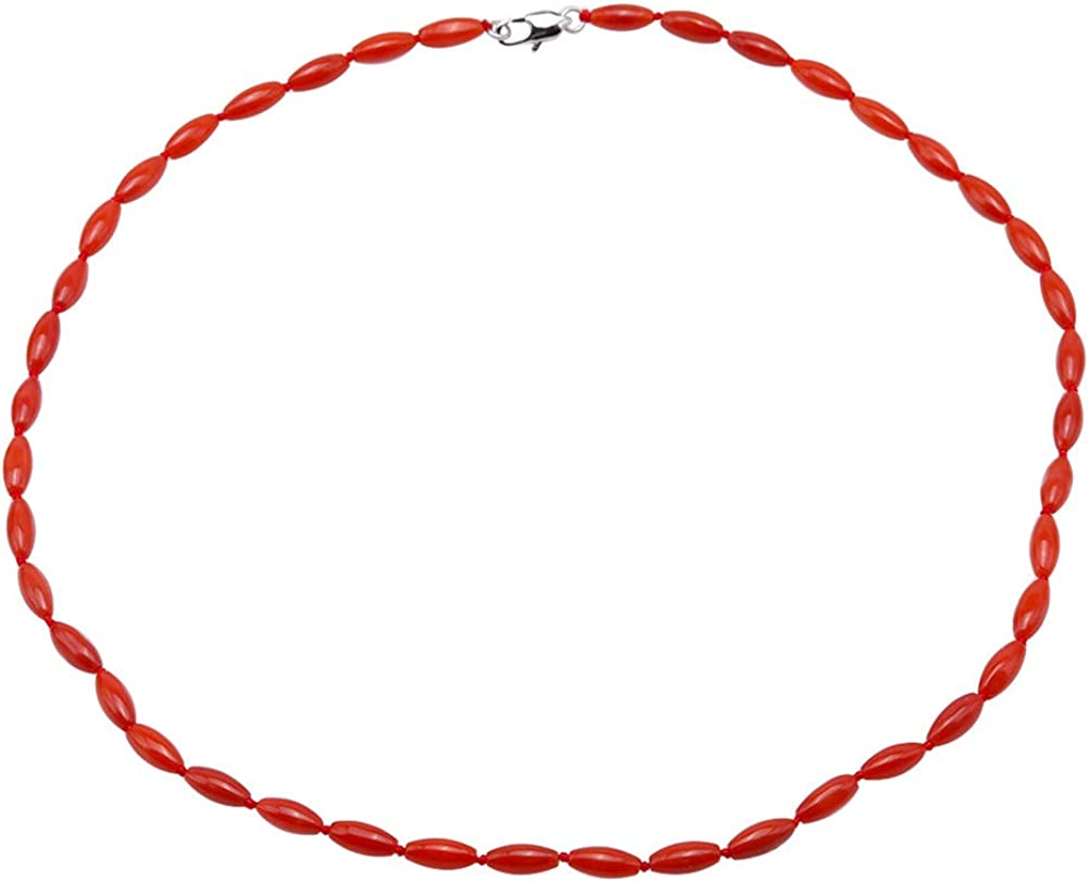 JYX Coral Necklace 4-4.5mm Orange Oval Coral Beads Single-strand Necklace Coral Jewelry for Women 17.5