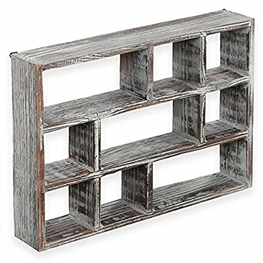 MyGift 15 Inch 9 Compartment Rustic Wooden Freestanding & Wall Mountable Shadow Box Display Shelf