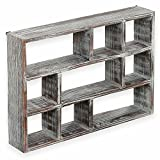 MyGift 15-Inch 9-Compartment Torched Wood Freestanding & Wall Mountable Shadow Box Display Shelf