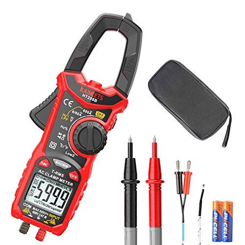 KAIWEETS Klämmätare HT206B 6000 räkningar, 600A AC Ampere Meter, NCV 600 V AC/DC spänningsmått, med LCD-bakgrundsbelyst, kapacitans, batteri, kontinuitet, motstånd, dioder, temperatur, drift, frekvenstest