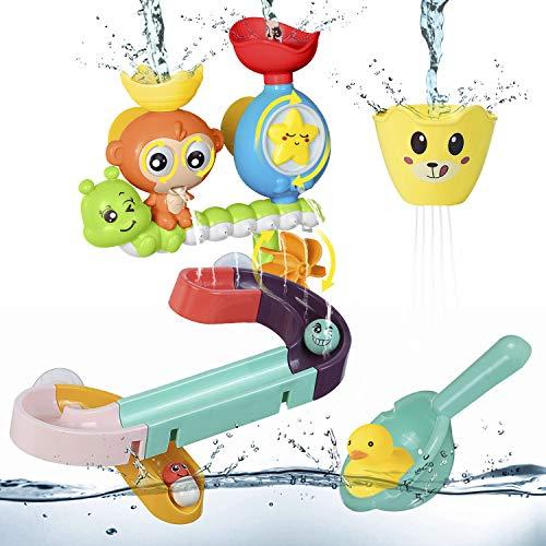 ZWOOS Badespielzeug für Babys, Badewanne Brunnen Spielzeug , Kinder Wasser Dusche Badewannenspielzeug mit Puzzle Autorennbahn für Kleinkind