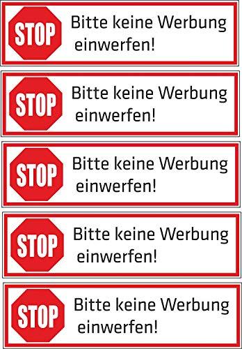 Keine Werbung! 5 - Block - weiße Briefkastenaufkleber 70x20 mm - Aufkleber STOP Bitte keine Werbung einwerfen - Briefkasten - Zeitungsrolle (1)