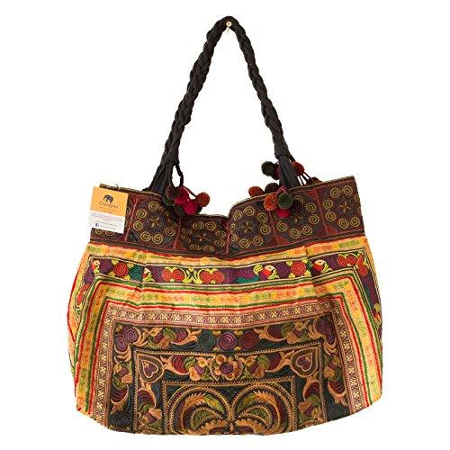 changnoi Hill Tribe Handtasche, Bestickt, aus Thailand, Fair Trade, Braun (Mokka), Large