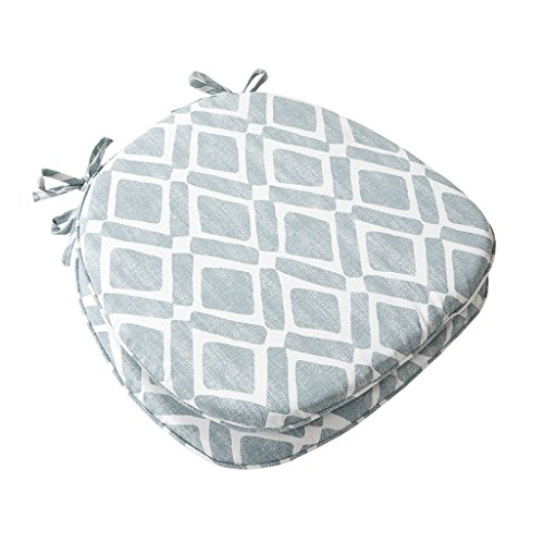 """Madison Park Delray Printed Diamond Cotton Chair Pad Seat Cushion for Dining Office and Living Room, 16"""" W x 17"""" W x 1"""" H, Blue"""