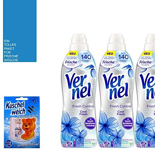 5 piezas. STUDIO.MUNET Set de 3 x 800 ml Vernel Suavizante Fresh Control Ice Control - 96 WL - Saquitos aromáticos suaves de algodón para verano - Bolsa de algodón de Studio.MUNET