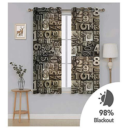 Aeici Wohnzimmer Vorhang,Vorhang Gardine Schlafzimmer Arabische Ziffern Vorhang 274x115CM Vorhänge für Wohnzimmer Modern Braun