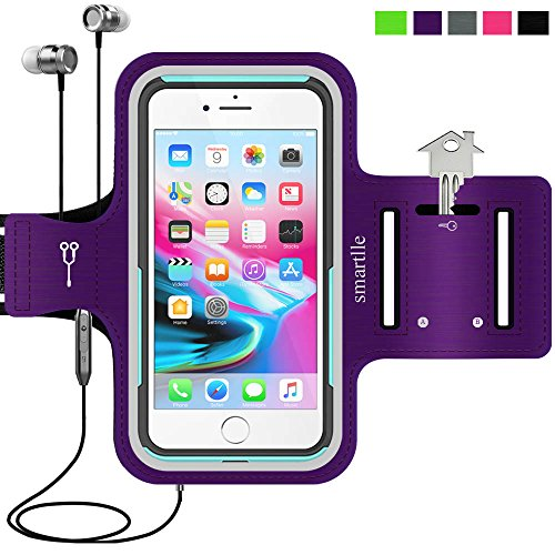 smartlle Phone Armband Running Workout Holder for iPhone Xs Max, XR, 8,7,6s Plus, Samsung Galaxy S10+/ Note 9, Pixel, Fitness Gym Sports Gear-Purple