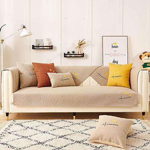 Homeen Chaise Longue Cover para sofá Cubierta de sofá para sofá de Tela/sofá de Cuero,Bordado de Hojas de Arce,Funda de sofá Antideslizante,sofá universales Modernos-Beige_70 * 150 cm