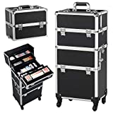 Yaheetech 3 in 1 Rolling Make Up Case Trolley, Aluminum Makeup Train Case Cosmetic Cart Organizer Large 360-degree on Wheels Black
