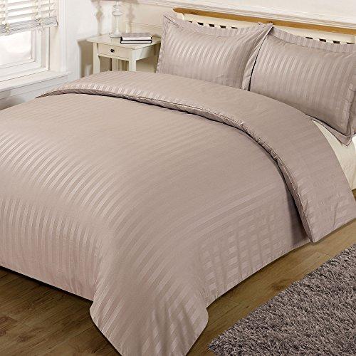 Dreamscene vacker satin ränder sängkläder set, mink, dubbel