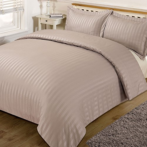 Dreamscene Beautiful Satin Stripe Duvet Bedding Set, Mink, Double