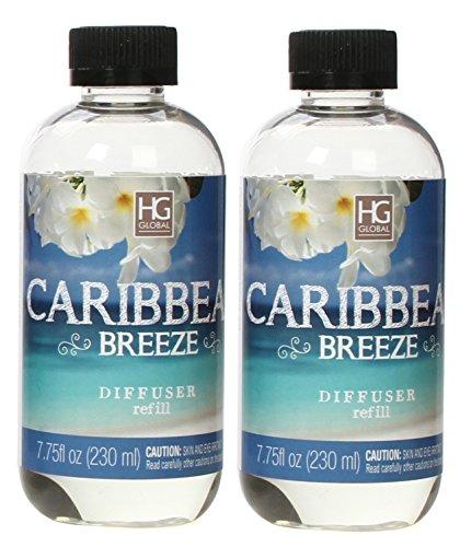Hosley Set of 2 Premium Caribbean Breeze Reed Diffuser Refills Oil 230 Milliliter 7.75 Fluid Ounces Ideal Gift for Weddings Spa Reiki Meditation Settings W1