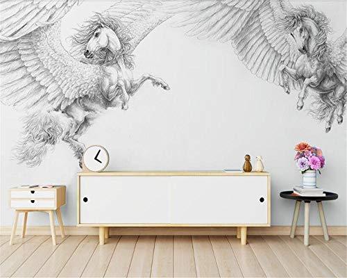 Stereo Super Silky Stereoscopic 3d Wallpaper Nordic Modern Pintado a mano en blanco y negro Papeles de pared Pegasus decoración del hogar 430×300cm