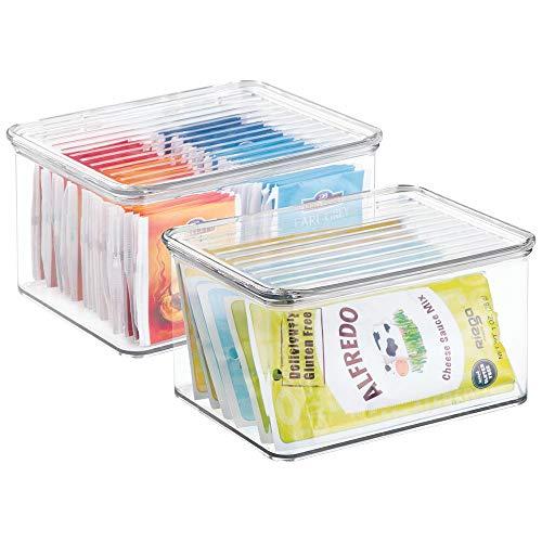 mDesign Juego de 2 Cajas Transparentes con Tapa - Prácticas Cajas ...