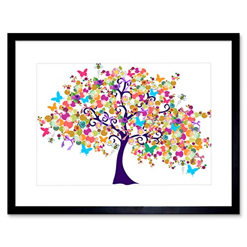 ABSTRACT SPRING TIME TREE BLACK FRAME FRAMED ART PRINT PICTURE MOUNT B12X8665