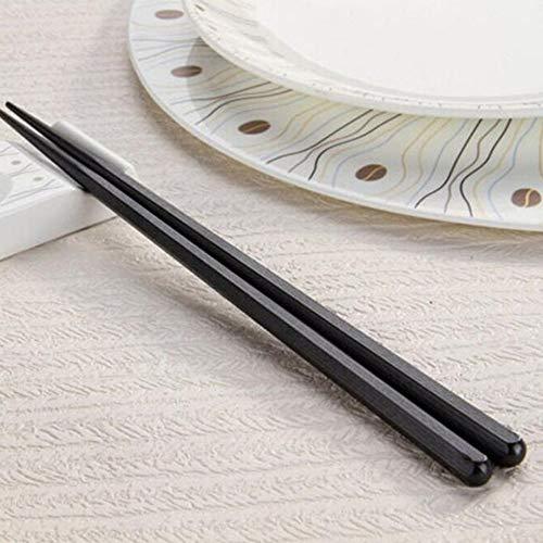 Emilyisky 1 par de Palillos japoneses Aleación Antideslizante Color de Madera Palitos de Sushi Set Regalo Chino Familia Amigos Colegas Regalos Color de Madera Hexágono
