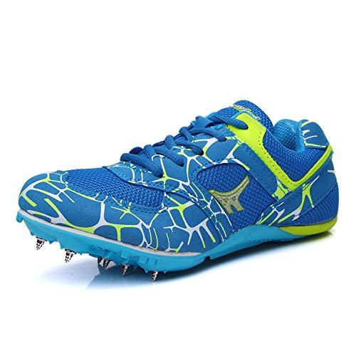FJJLOVE Zapatillas de Atletismo Unisex, Zapatillas de Cricket ultraligeras Zapatillas Profesionales de Clavos de 7 Clavos Zapatillas de Entrenamiento para competición,Azul,44