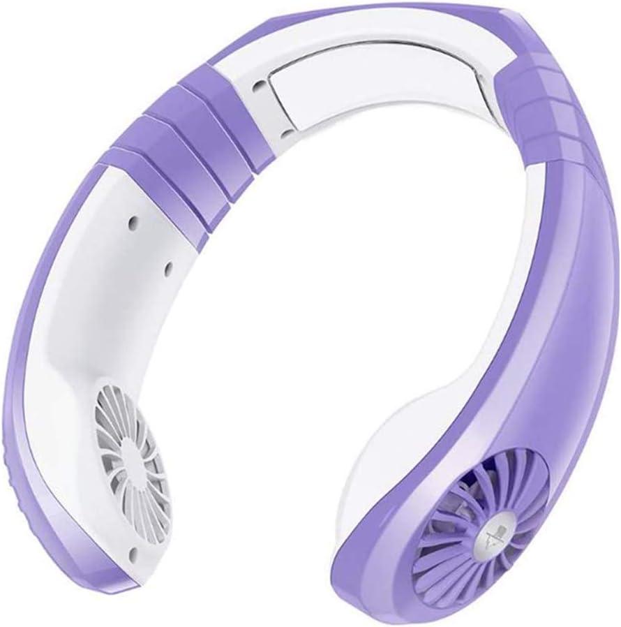 Portable Neck Fan,Mini Necklace Fan for Outdoor&Indoor,Personal Hands Free Fan, USB Rechargeable Cooling Fan (Purple&White)
