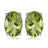 JewelryPalace Ovale 1.8ct Naturale Verde Peridot Birthstone Stud Orecchini Naturale 925 Sterling Argento