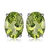JewelryPalace Pendientes 1.8ct Genuino Peridoto Verde Oval Natural Piedra de nacimiento Aretes Plata de ley 925
