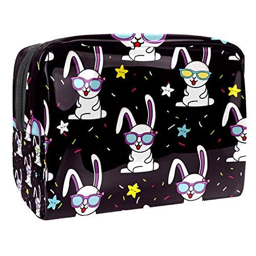 Bolsa de Maquillaje para niños Gafas de Conejo graciosas Accesorio de Viaje Neceser Pequeño Bolsas de Aseo Impermeable Cosmético Organizadores de Viaje 18.5x7.5x13cm