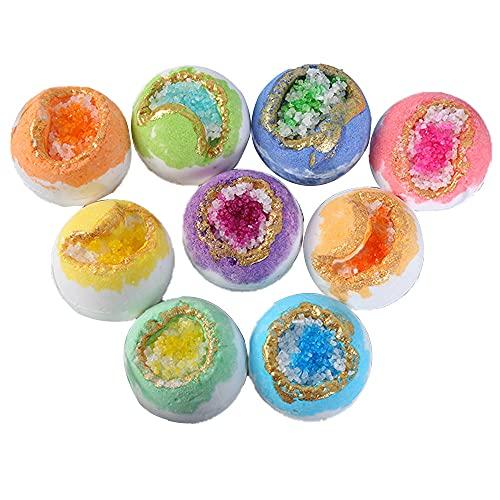 GBLDLY Bombas de baño con burbujas ricas, 9 piezas hechas a mano de color bombas de baño, bombas de baño naturales y orgánicas, para niños, mujeres, mamá en Navidad, San Valentín cumpleaños