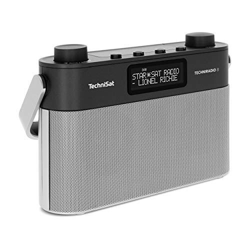 TechniSat Techniradio 8 Portables Digitalradio mit Tragegriff (DAB+, UKW, Sprachansagen, Radiowecker) schwarz/Silber