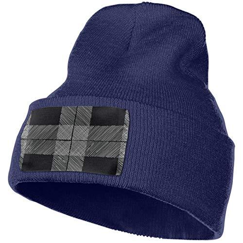 zhkx Tartan Seamless Black White Checkered Men/Women All Seasons Thin Skull Cap Baggy Oversize Knit Hat