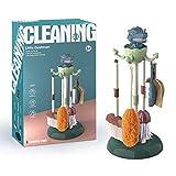 Juego de juguetes de limpieza para niños Juguetes para el hogar Juego de herramientas de saneamiento de limpieza para niños realistas de 6 piezas trompeta trapeador escoba polvo bebé barrido piso