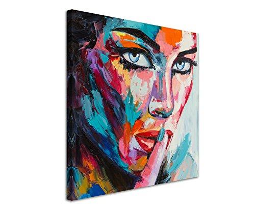 Paul Sinus Art Quadratische Fotoleinwand 90x90cm Buntes modernes Ölgemälde – Frau mit blauen Augen auf Leinwand Exklusives Wandbild Moderne Fotografie für ihre Wand in vielen Größen