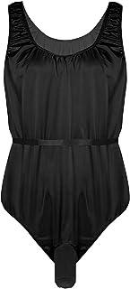 YOOJIA Men's Sissy Crossdress Lingerie Silky Satin Open Sheath Bodysuit Nightwear Pajamas
