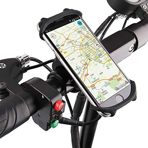 hclshops Motocicleta del Soporte del teléfono de la Bicicleta de Silicona para 12 11 Pro MAX 7 8 Plus XR XS Soporte de teléfono móvil Bicicleta GPS Clip Monte rápido (Color : Rotatable Black)